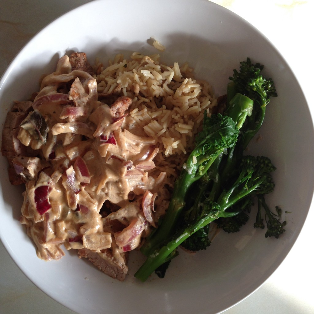 Pork Marsala with Mushroom Rice and Broccoli with Lemon and Parmesan