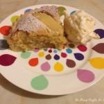 Pear, almond and amaretto tart with stem ginger mascarpone cream