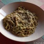Super simple creamy basil pesto and spaghetti
