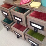 Lined wooden drawers