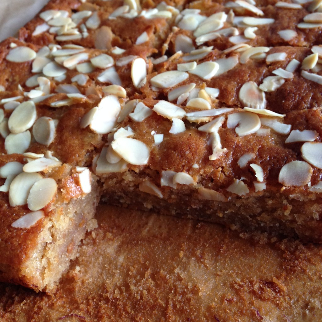 Honey banana and almond cake