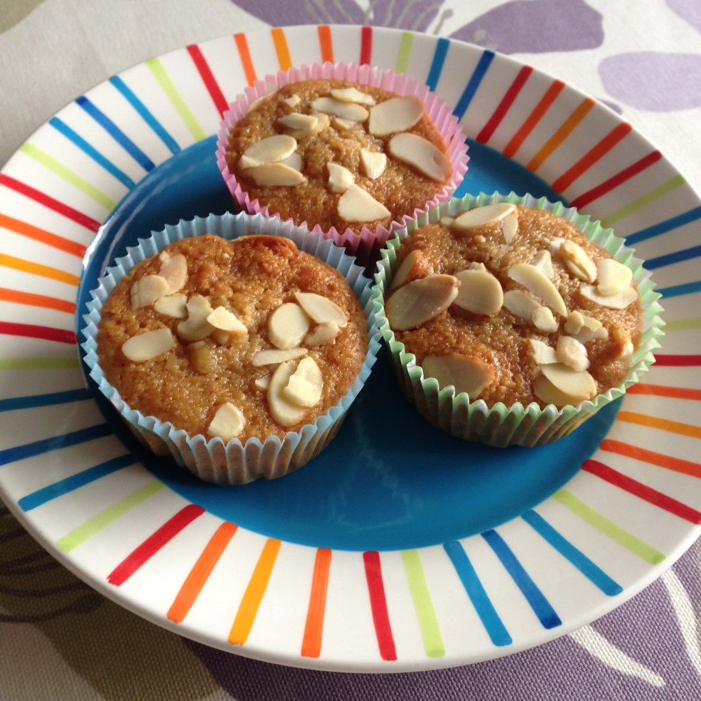 Honey, banana and almond muffins
