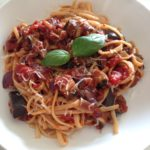 Aubergine and chilli tagliolini