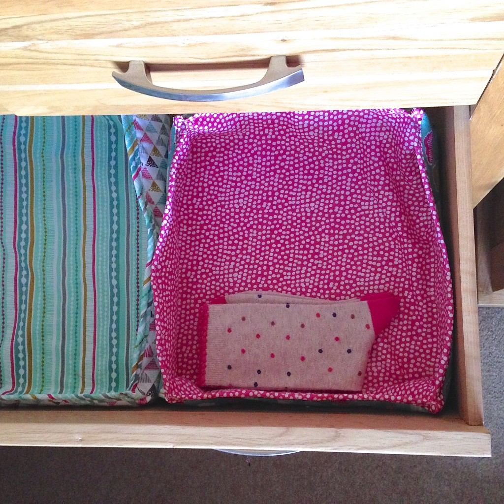 Drawer inserts in situ with socks