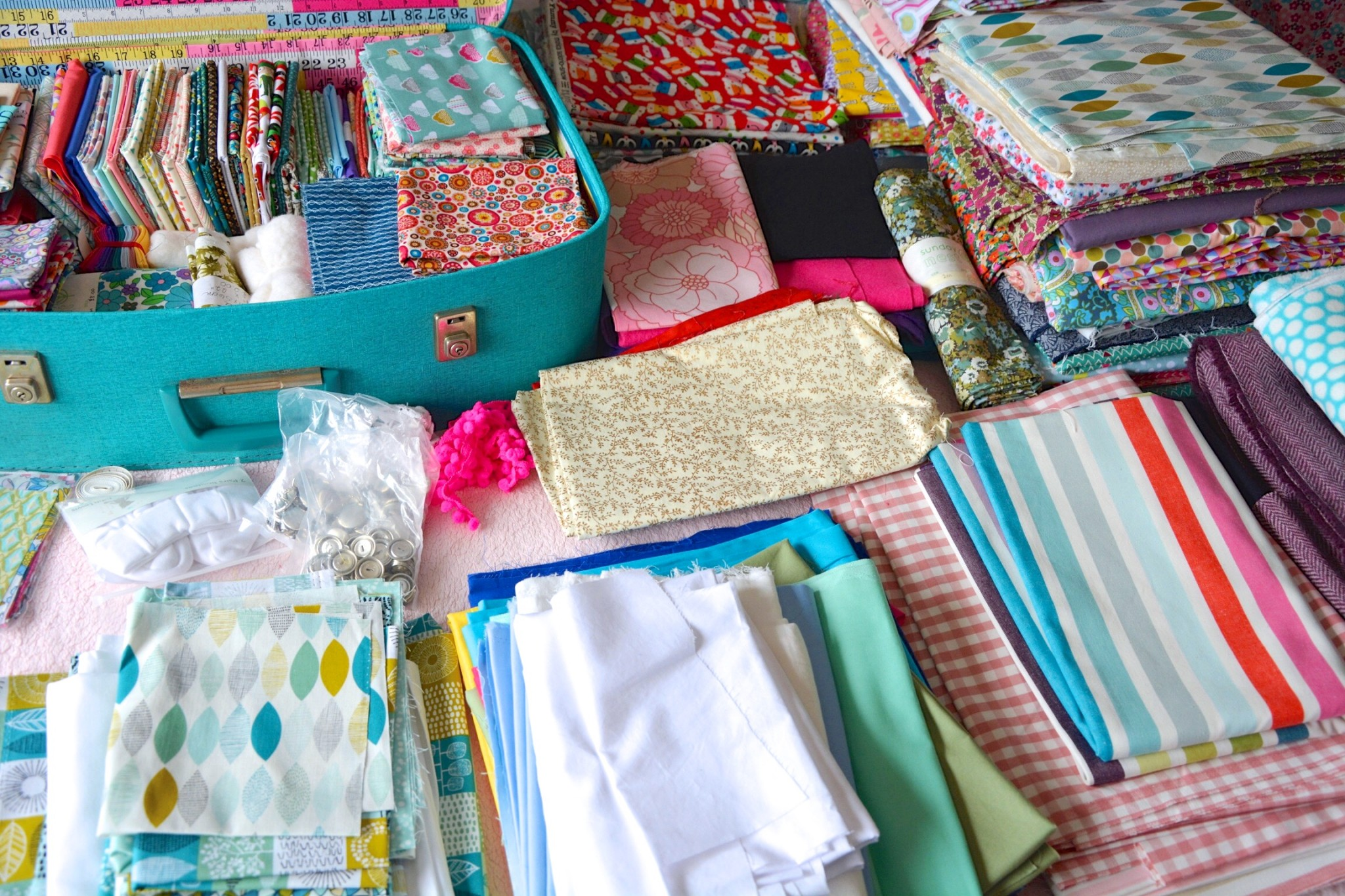 Many piles of fabric