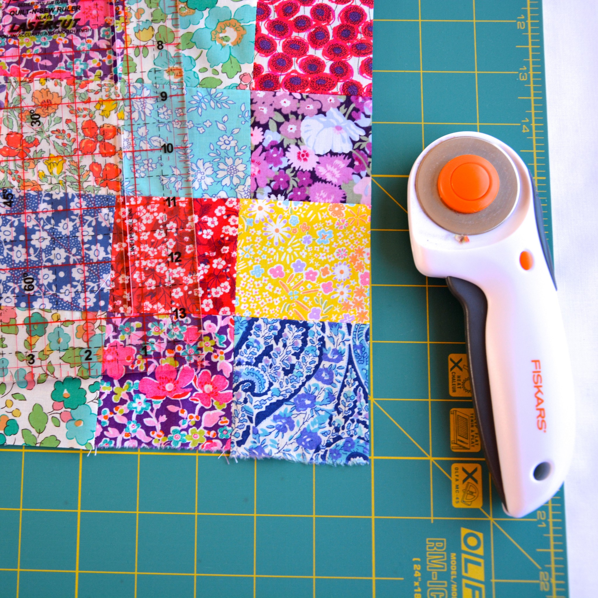 Neaten the edges of the patchwork