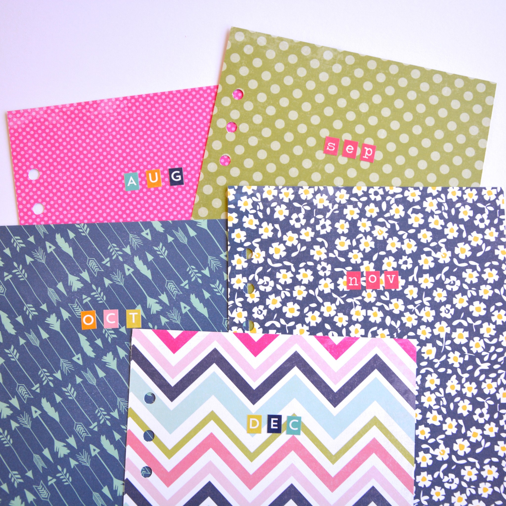 Filofax month dividers