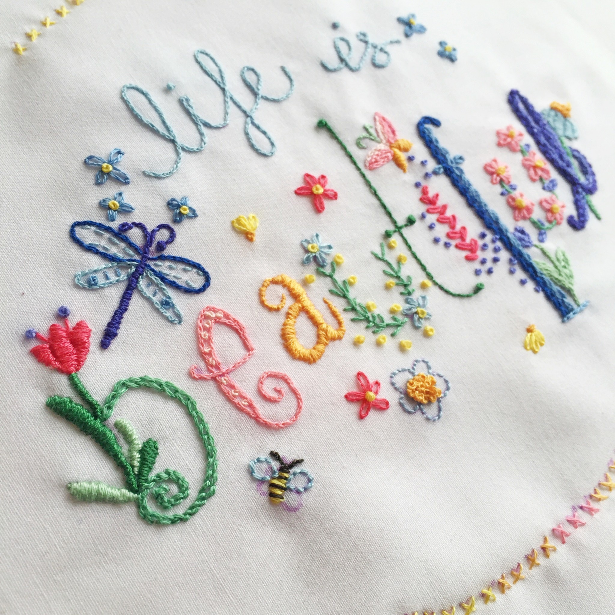 Life is Beautiful embroidery sampler | Hello! Hooray!