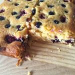 Raspberry and blueberry lime drizzle cake