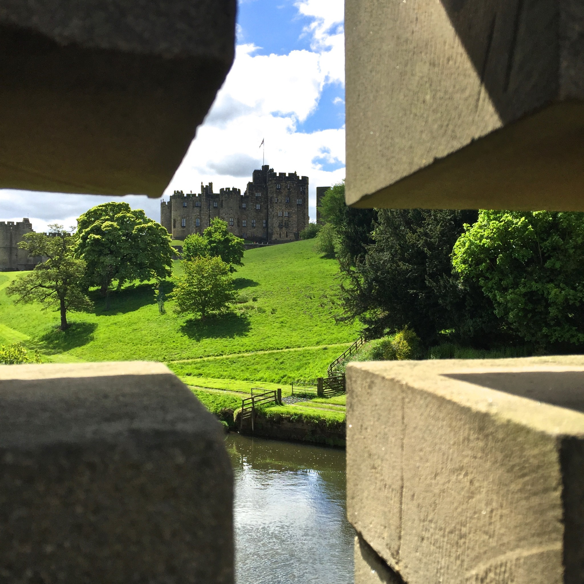 Alnwick Castle through the bridge