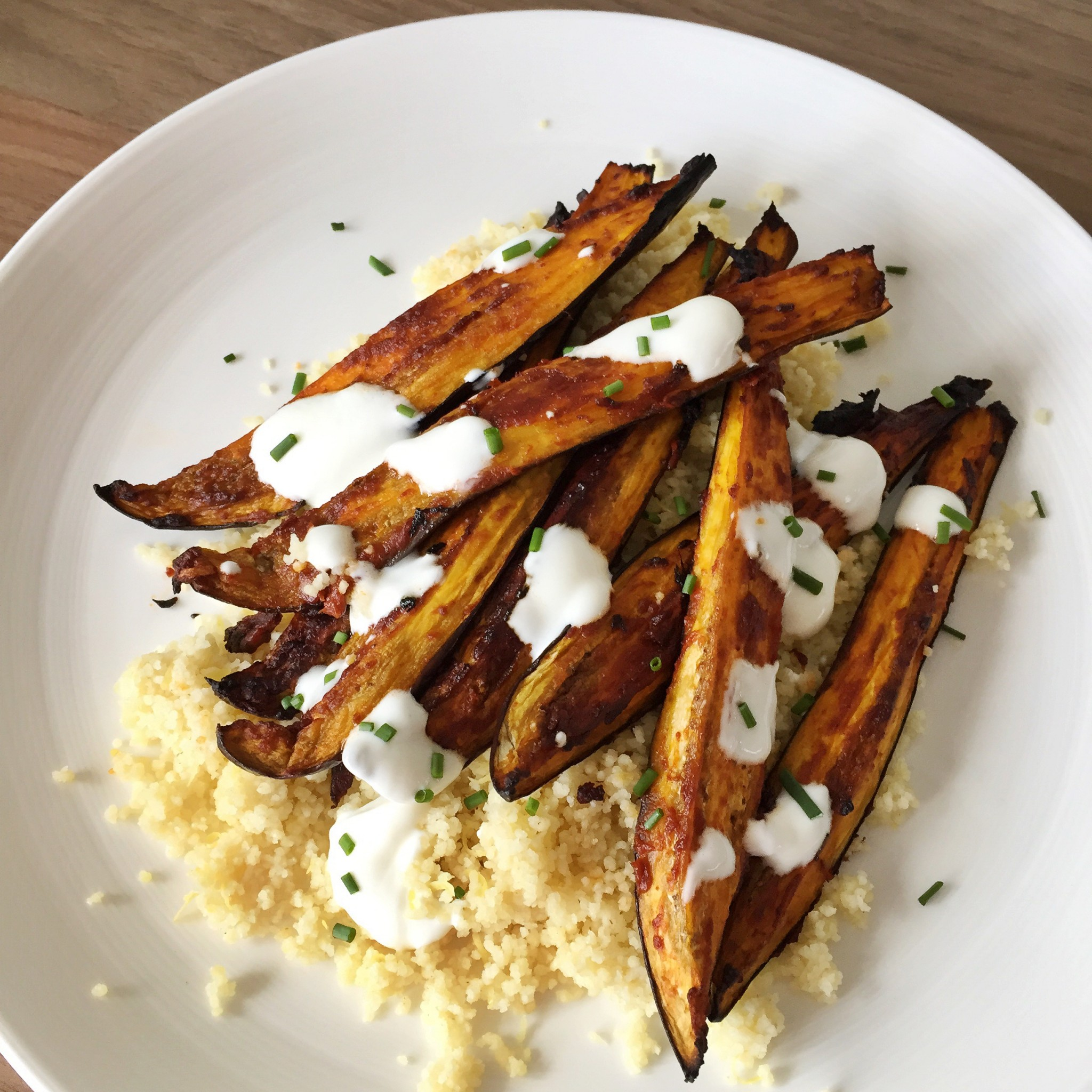 Spicy aubergine chips with couscous | Hello! Hooray!