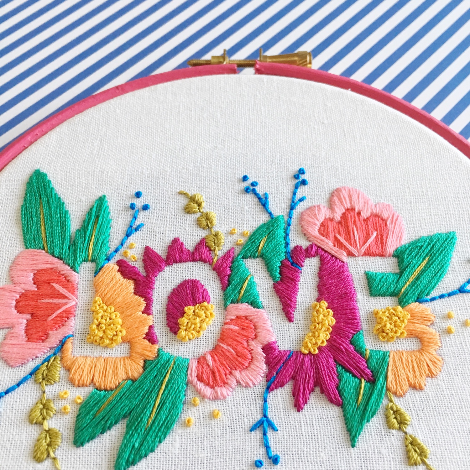 Brynn and Co LOVE embroidery hoop close up | Hello! Hooray!