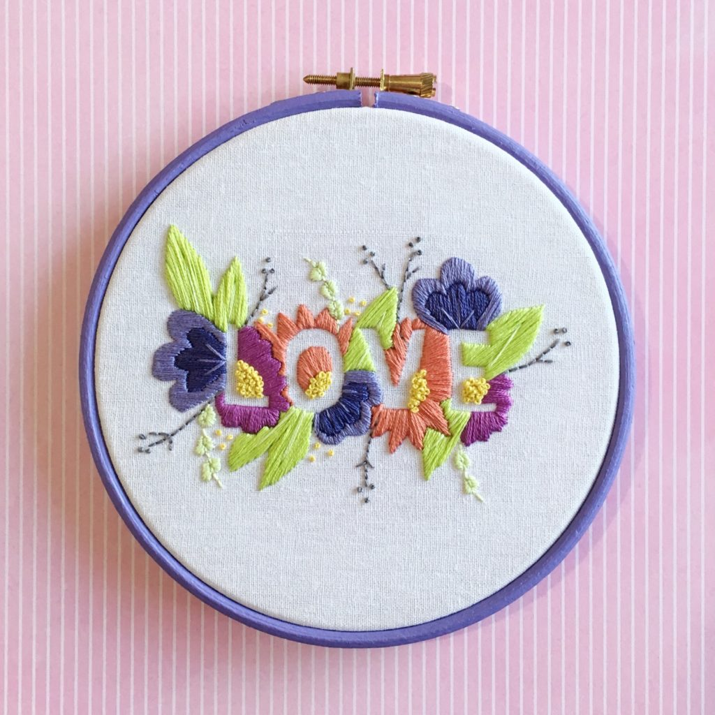 Brynn and Co LOVE embroidery hoop in new DMC colours | Hello! Hooray!