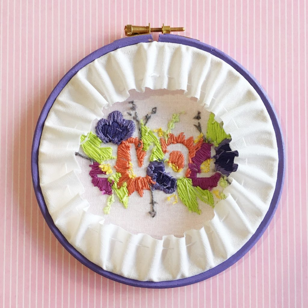 Brynn and Co LOVE embroidery hoop new colours reverse | Hello! Hooray!