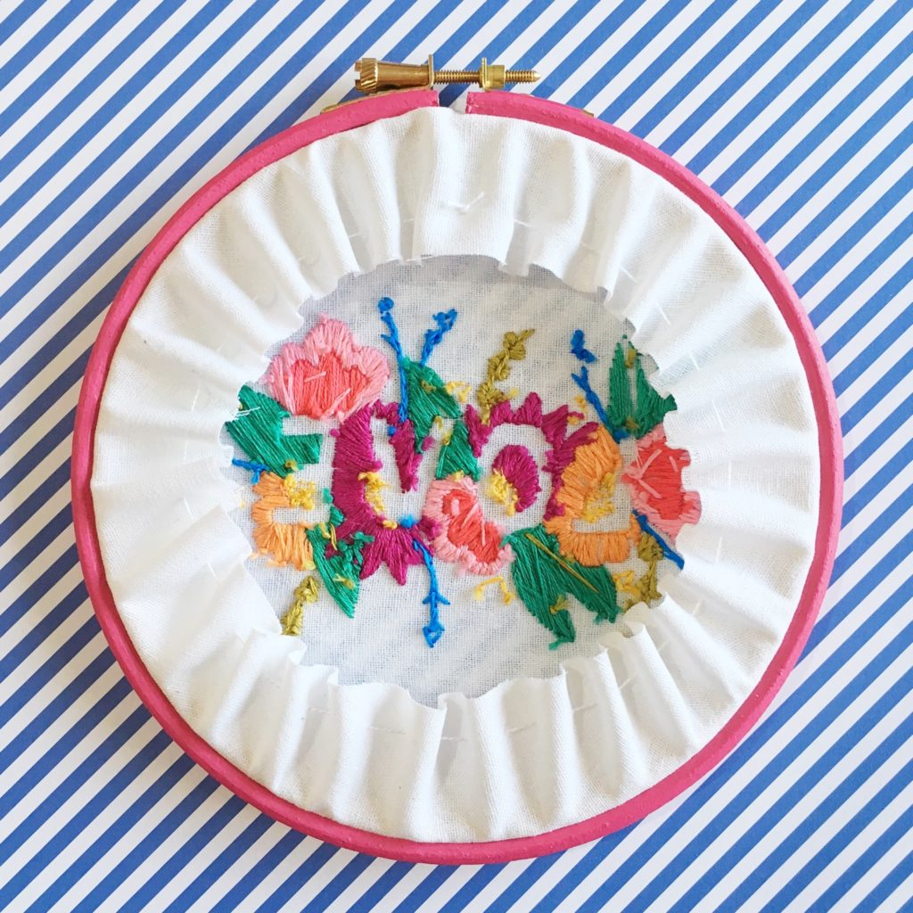 Brynn and Co LOVE embroidery hoop reverse | Hello! Hooray!
