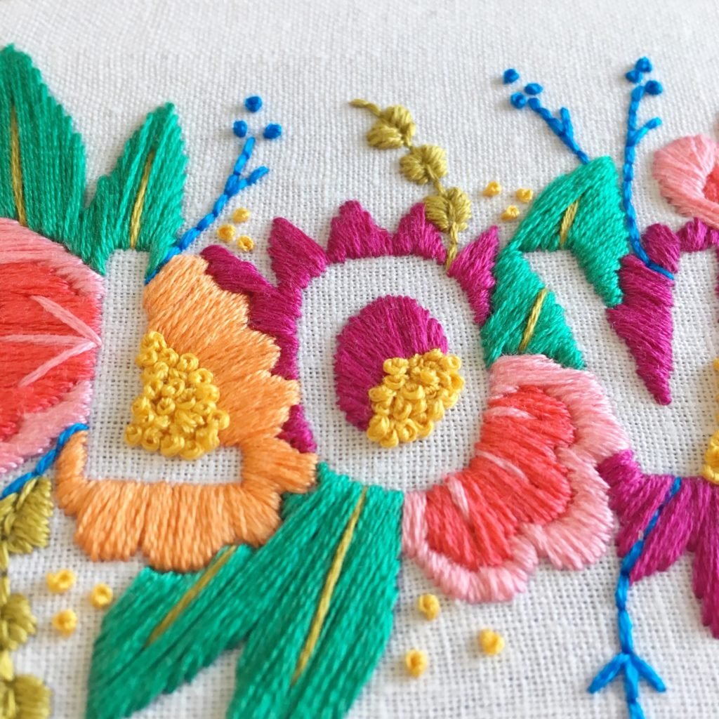 Stitching the Brynn and Co LOVE embroidery hoop | Hello! Hooray!
