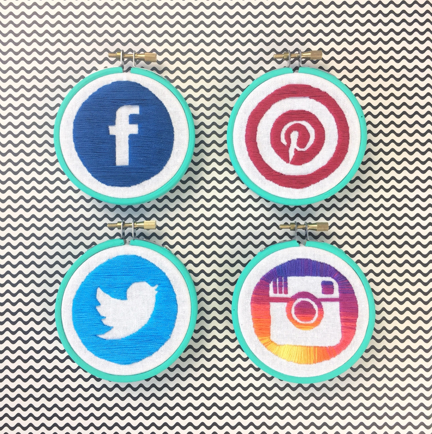 Hand embroidered social media icons