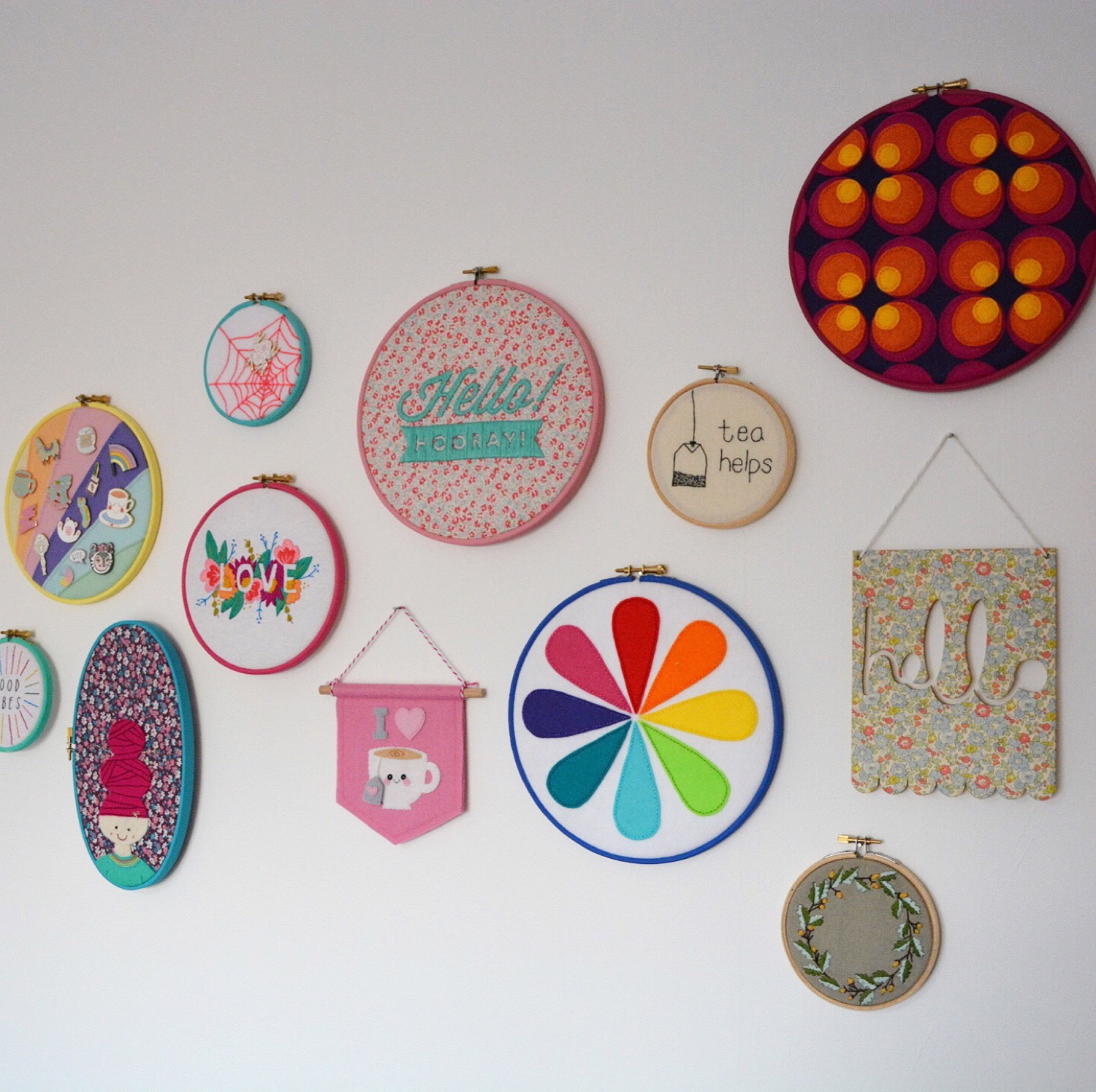 Colourful craft room hoop wall | Hello! Hooray!