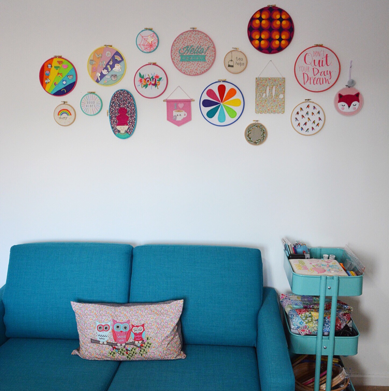 Craft room hoop wall | Hello! Hooray!