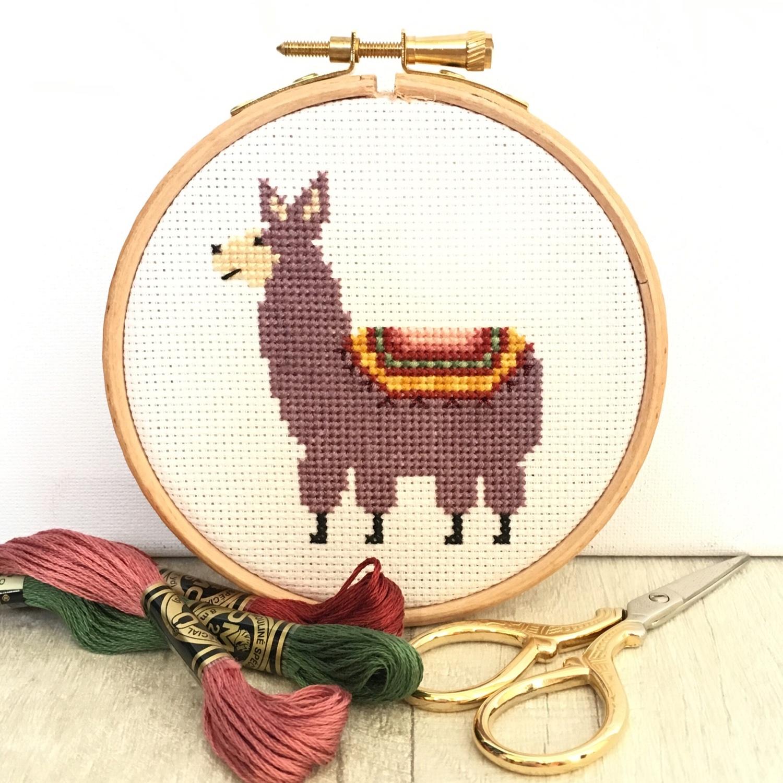 llama-cross-stitch-hoop by Hannah Hand Makes | Hello! Hooray!