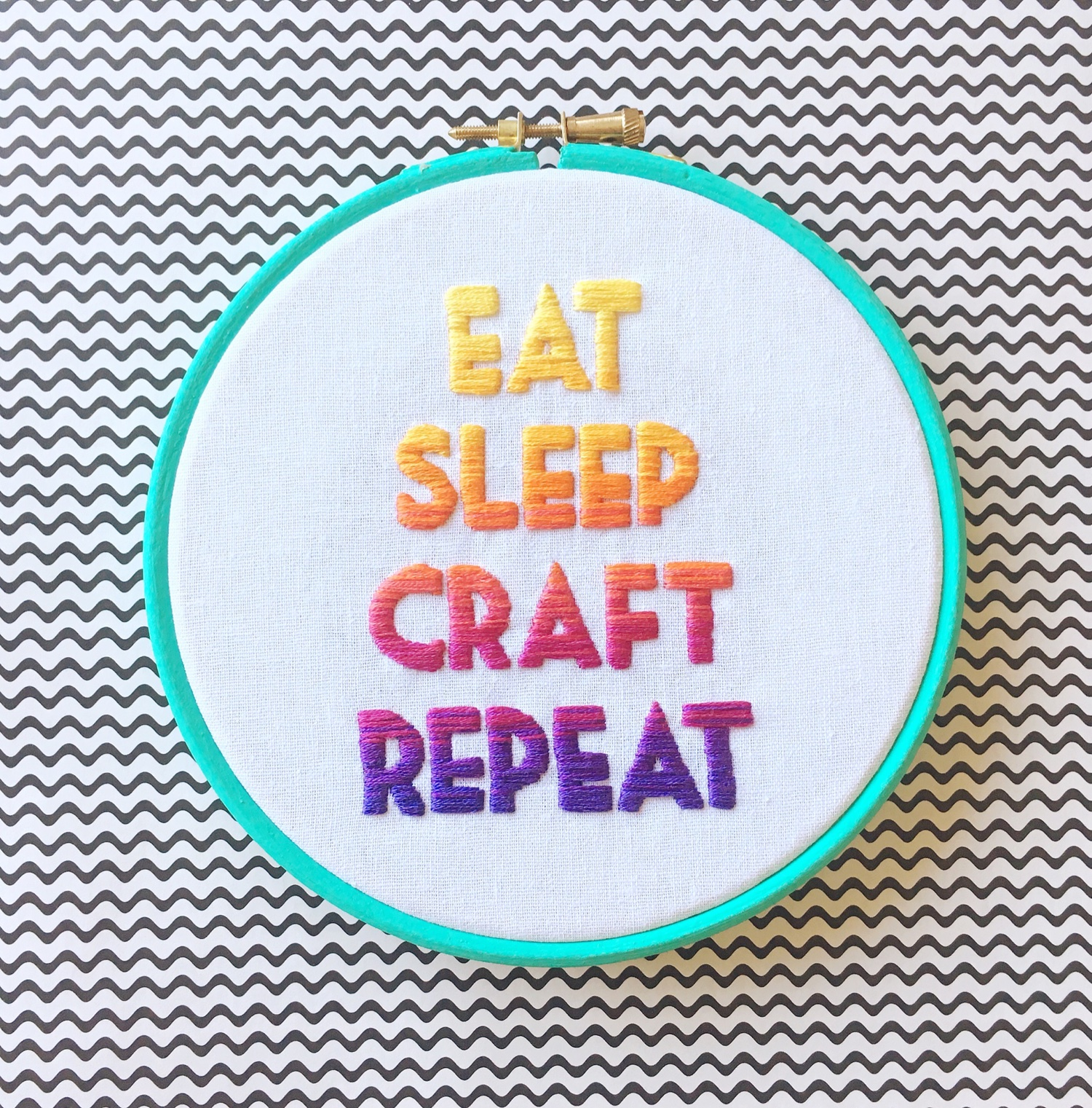Eat Sleep Craft Repeat ombre embroidery | Hello! Hooray!