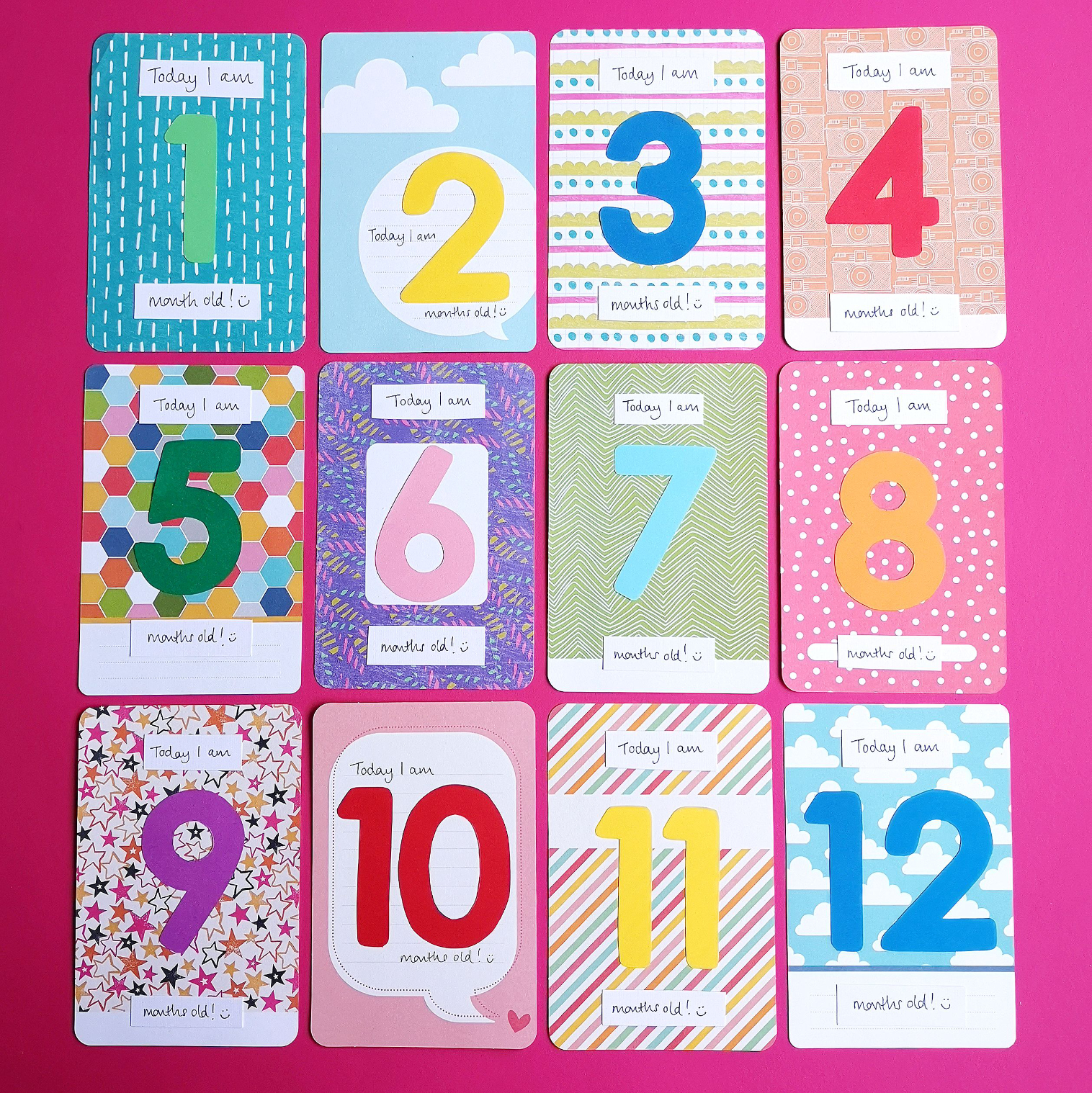 Project Life baby milestone cards 1 to 12 | Hello! Hooray!