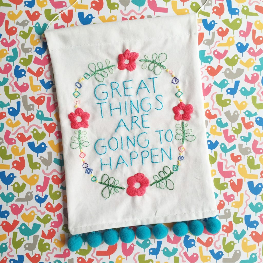 Embroidered banner | Hello! Hooray!