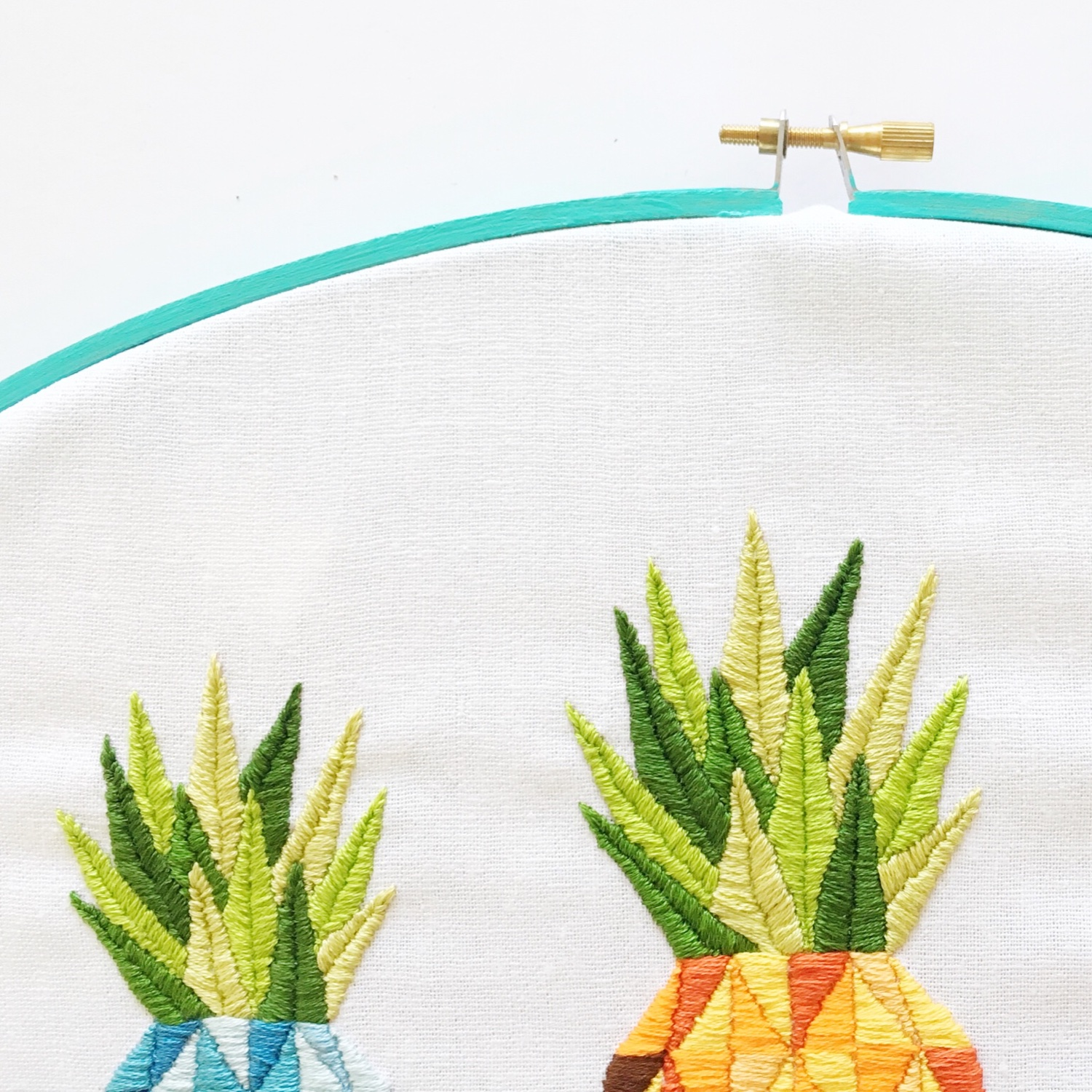 Leaves for blue pineapple embroidery | Hello! Hooray!