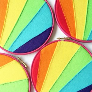 Vegan rainbow enamel pin holder hoops