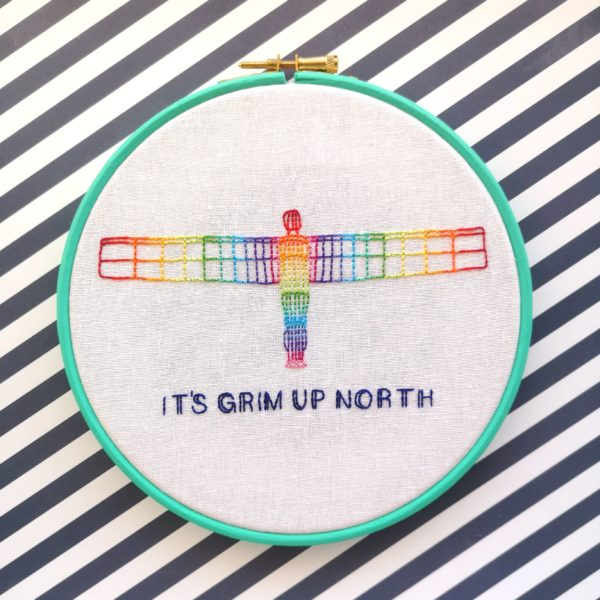It's Grim Up North Rainbow Angel embroidered hoop