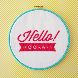 Hello! Hooray! stitched logo