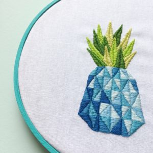 Blue pineapple embroidery | Hello! Hooray!