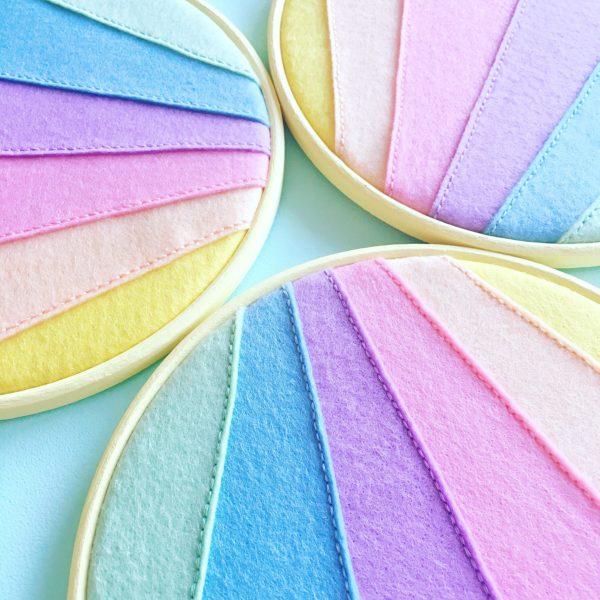 Vegan felt pastel rainbow enamel pin holder hoop | Hello! Hooray!