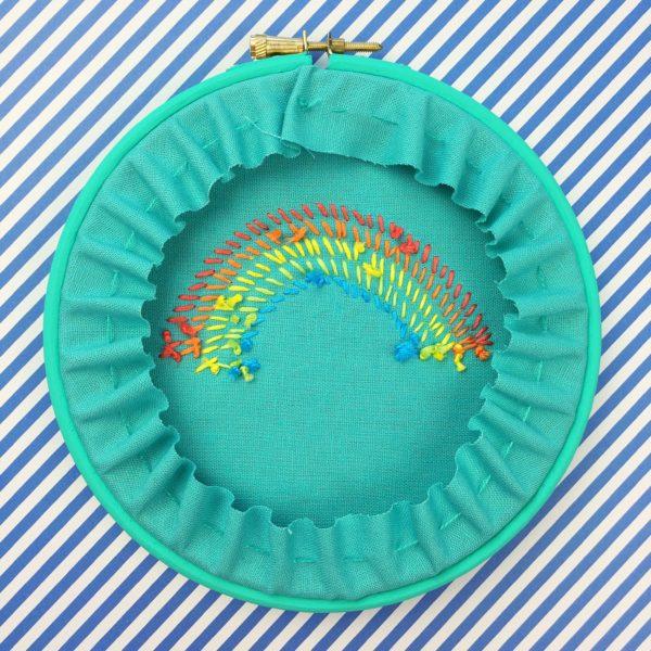 Bright rope rainbow teal hoop reverse | Hello! Hooray!