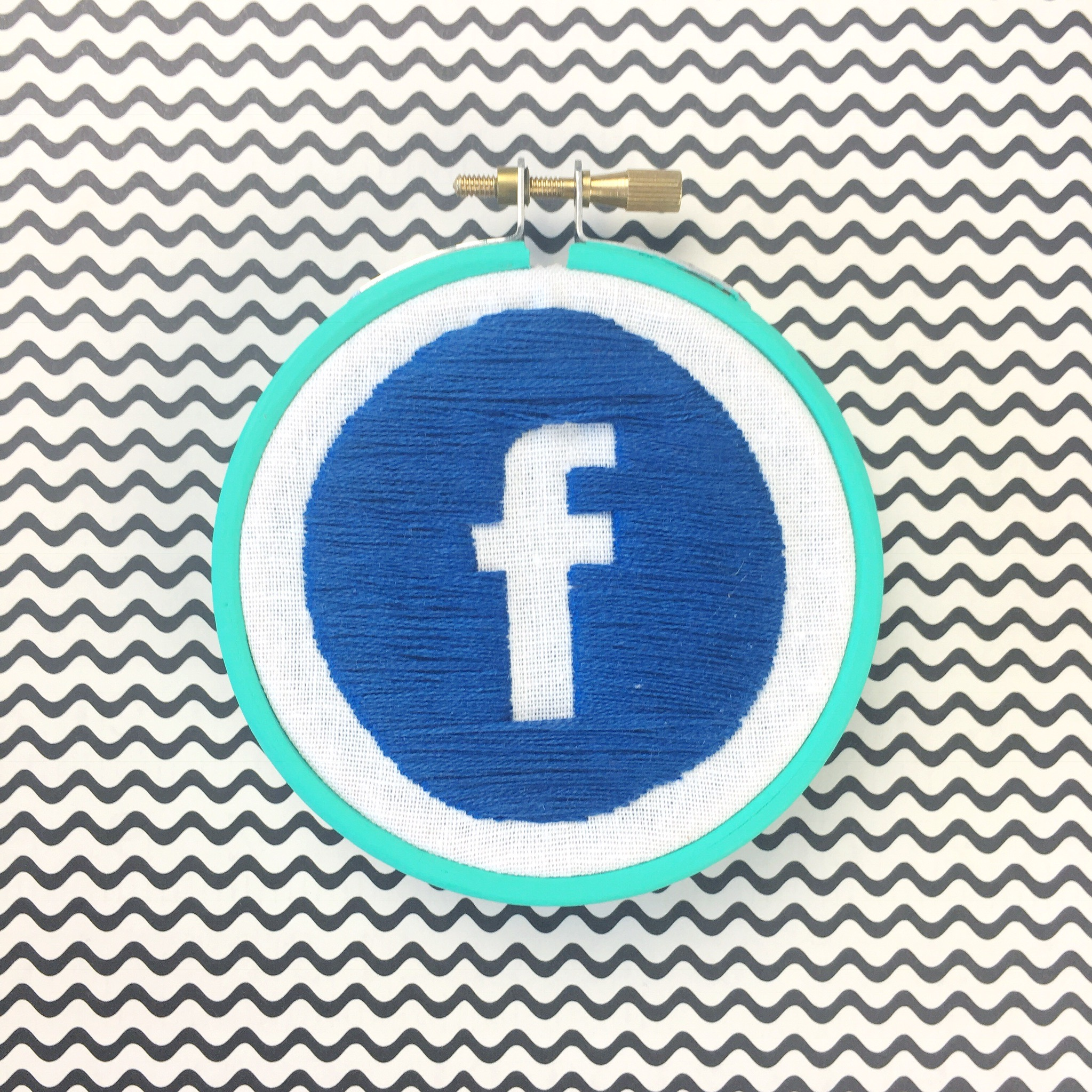 Facebook stitched logo | Hello! Hooray!