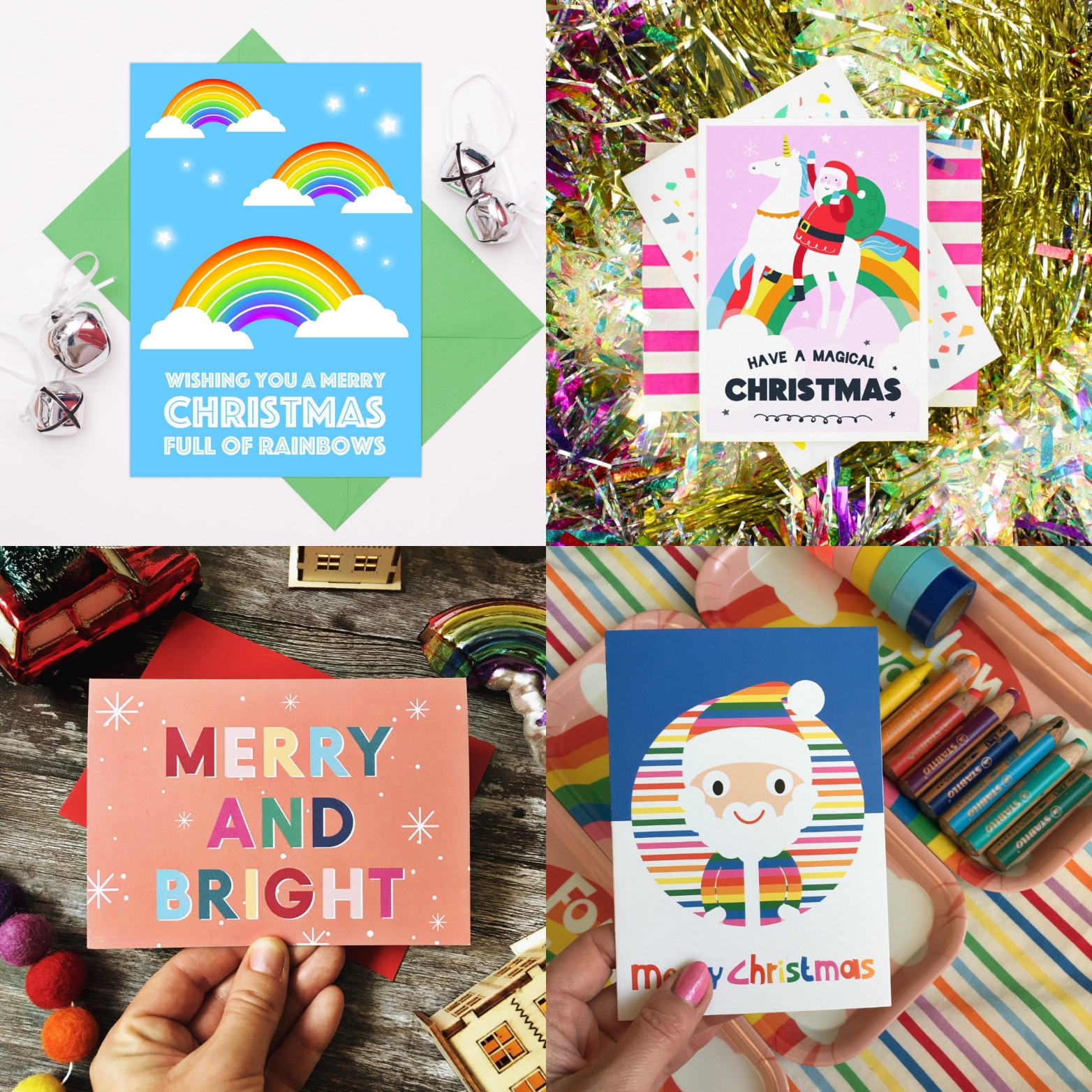 Merry rainbow Christmas Etsy Christmas cards | Hello! Hooray!