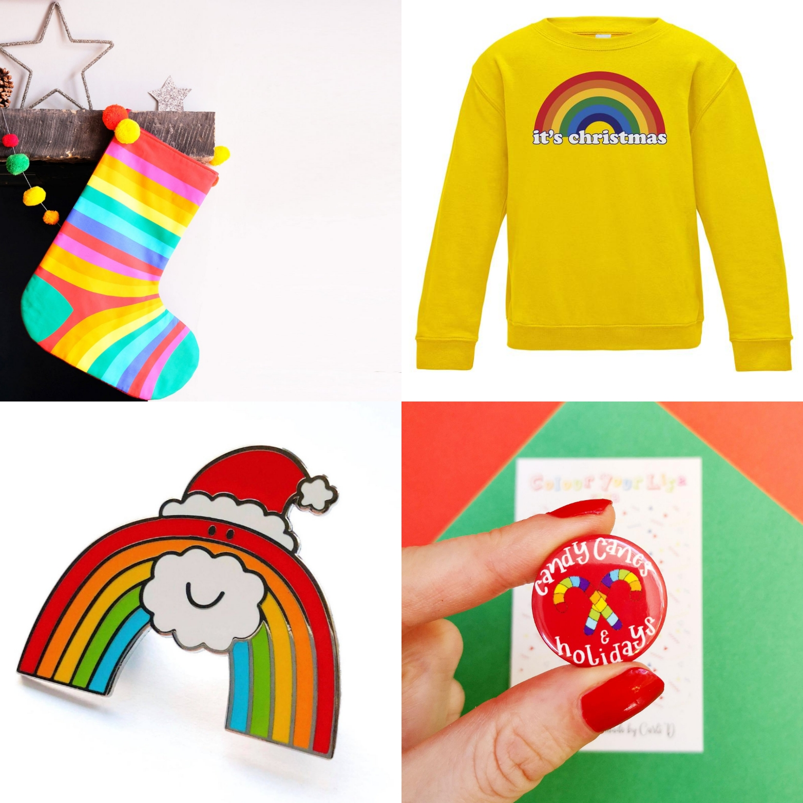 Rainbow Christmas Etsy accessories | Hello! Hooray!