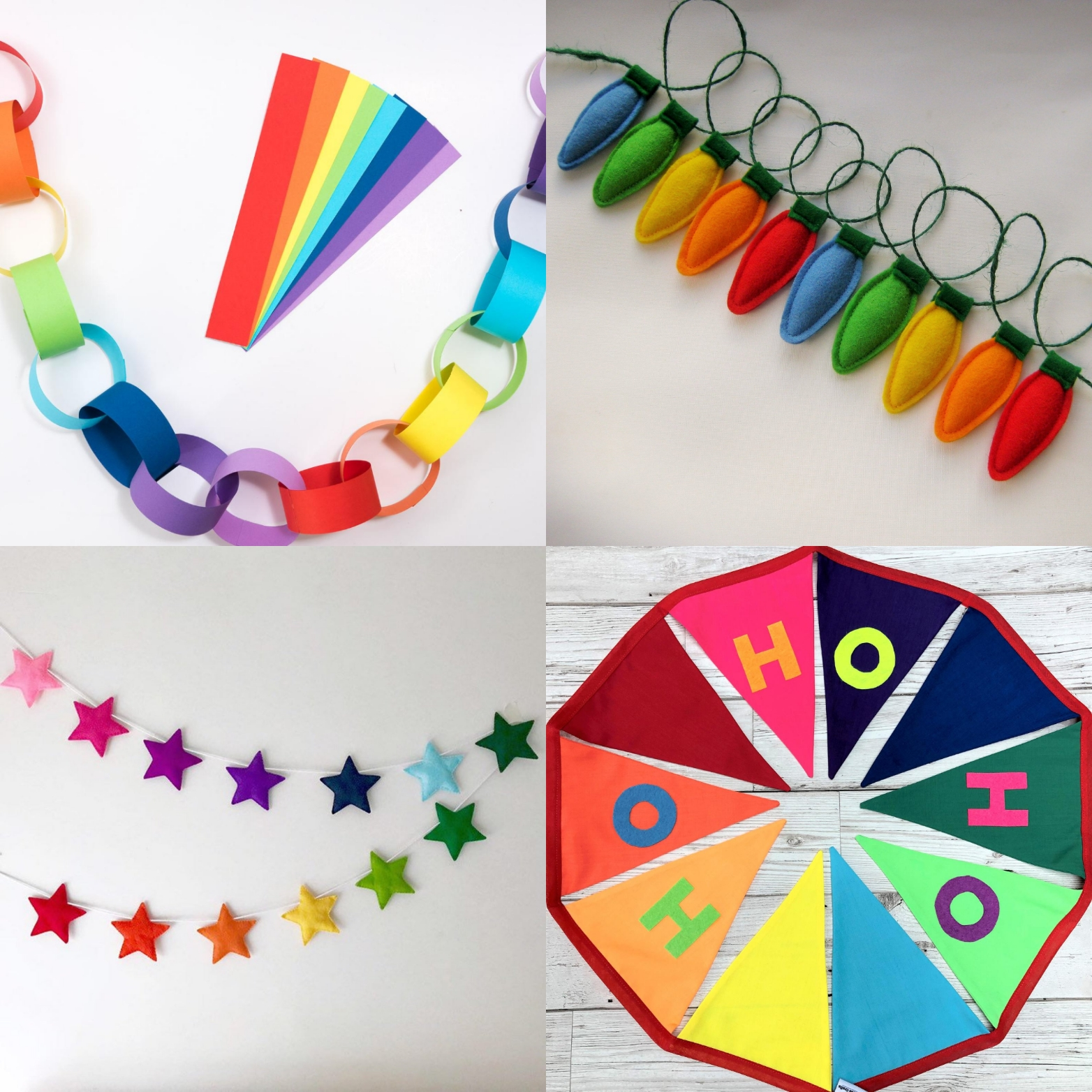 Merry rainbow Christmas Etsy garlands | Hello! Hooray!