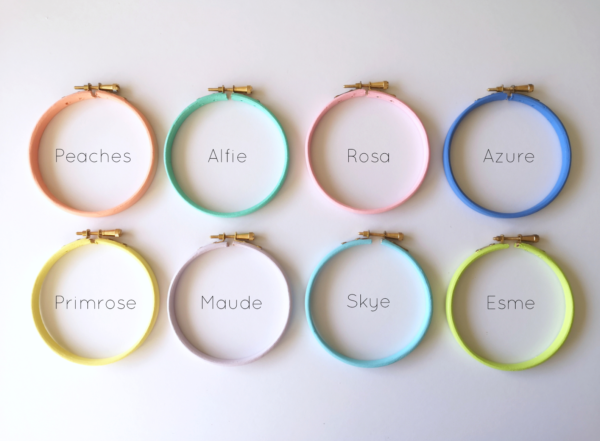 Pastel custom hoop colours | Hello! Hooray!