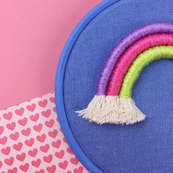Small cornflower rope rainbow hoop details   Hello! Hooray!