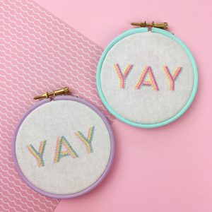 YAY embroidered hoop in pastels | Hello! Hooray!