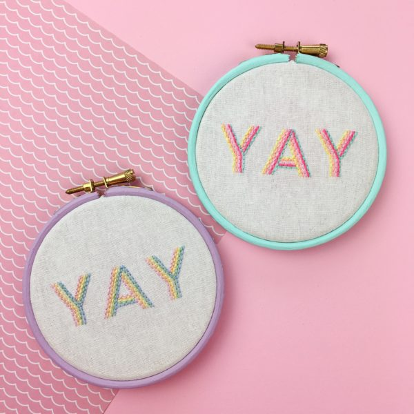YAY embroidered hoop in pastels   Hello! Hooray!