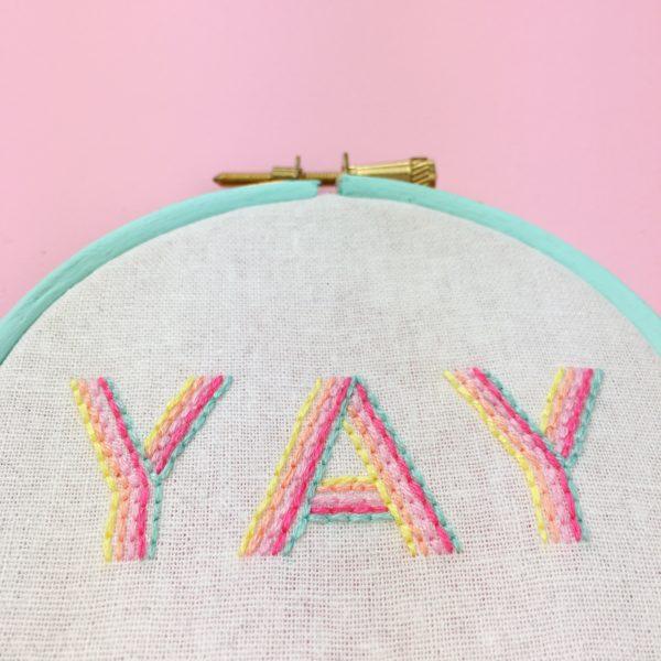 YAY embroidered hoop in pastels aqua   Hello! Hooray!