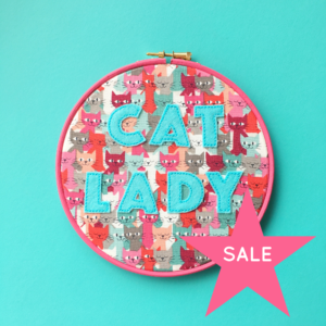 SALE Cat Lady vegan felt embroidered hoop | Hello! Hooray!