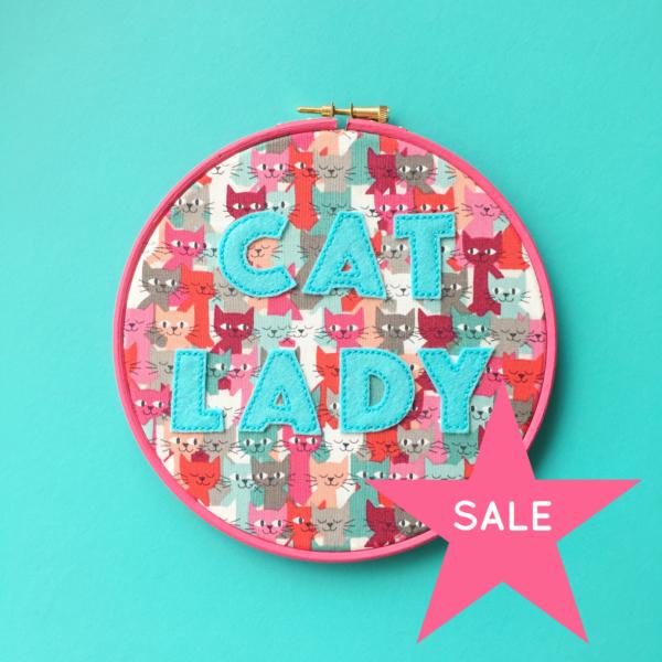 SALE Cat Lady vegan felt embroidered hoop | Hello! Hooray!