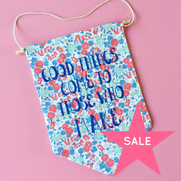 SALE Good Things hand embroidered banner | Hello! Hooray!