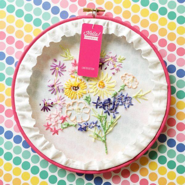 Vintage Floral embroidery hoop art reverse