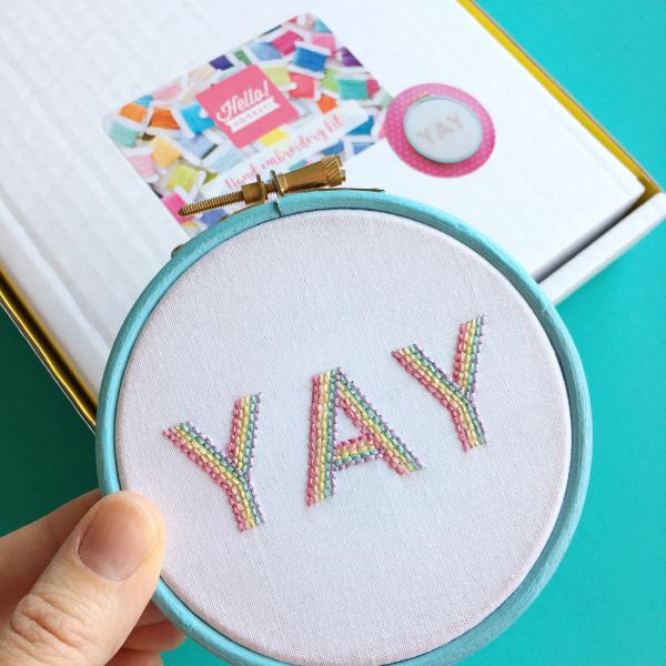 Pastel YAY embroidery kit | Hello! Hooray!