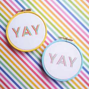 YAY hand embroidery kit in bright and pastel | Hello! Hooray!