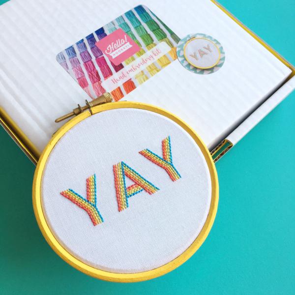 YAY hoop embroidery kit bright | Hello! Hooray!